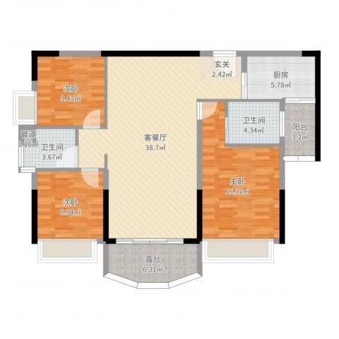 凯旋豪庭3室2厅2卫1厨121.00㎡户型图