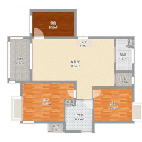 奕翠园3室2厅1卫1厨115.00㎡户型图