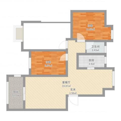 橡树城2室2厅1卫1厨85.00㎡户型图
