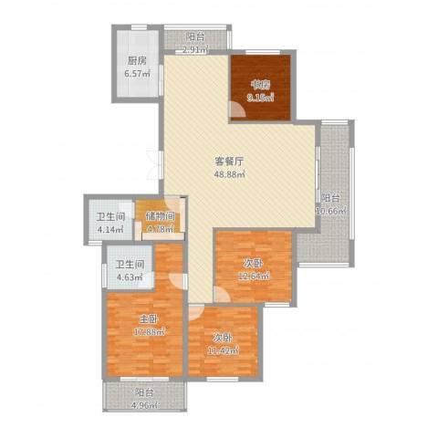 国骅东方湾邸4室2厅2卫1厨173.00㎡户型图