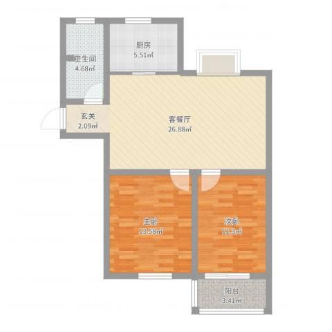 洪福小区三期2室2厅1卫1厨82.00㎡户型图