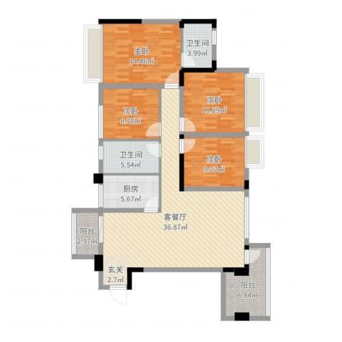 兰乔圣菲4室2厅2卫1厨132.00㎡户型图
