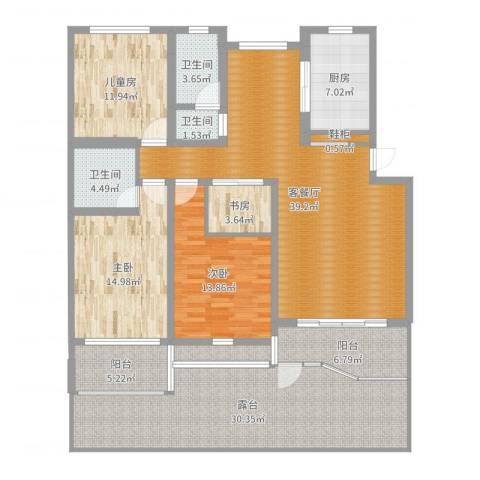 龙柏城市花园7号1024室2厅3卫1厨181.00㎡户型图