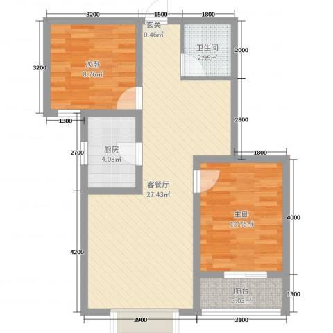凯隆御景2室2厅1卫1厨83.00㎡户型图