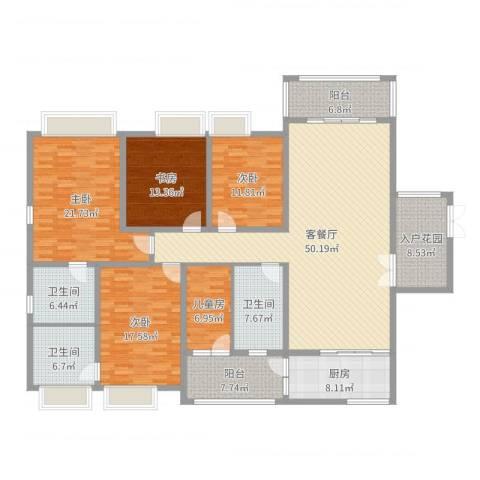 龙泉华苑5室2厅3卫1厨217.00㎡户型图