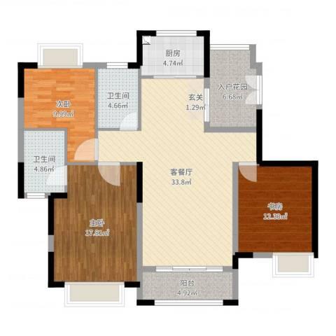 银湖山庄3室2厅2卫1厨125.00㎡户型图