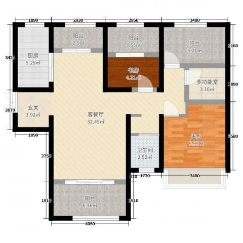 力高阳光海岸2室2厅1卫1厨96.00㎡户型图