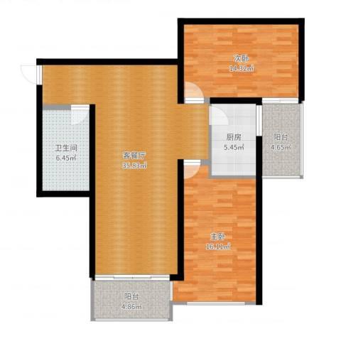 万方景轩2室2厅1卫1厨110.00㎡户型图