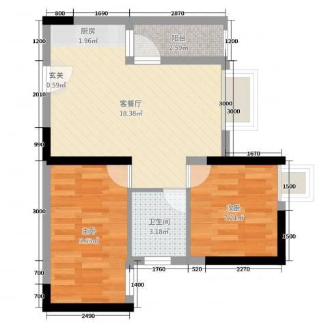 正和中州2室2厅1卫0厨64.00㎡户型图