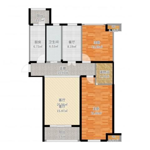 世好国际花园2室2厅1卫1厨127.00㎡户型图