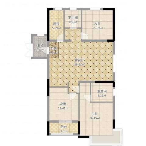 金色阳光城3室2厅2卫1厨123.00㎡户型图