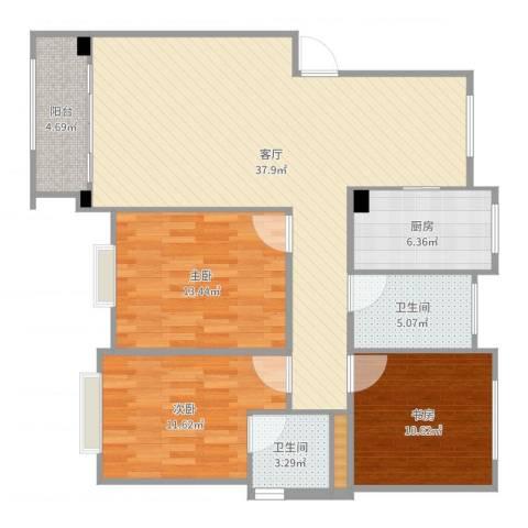盛世钱塘3室1厅2卫1厨117.00㎡户型图