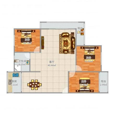 莲坂西小区3室1厅1卫1厨129.00㎡户型图