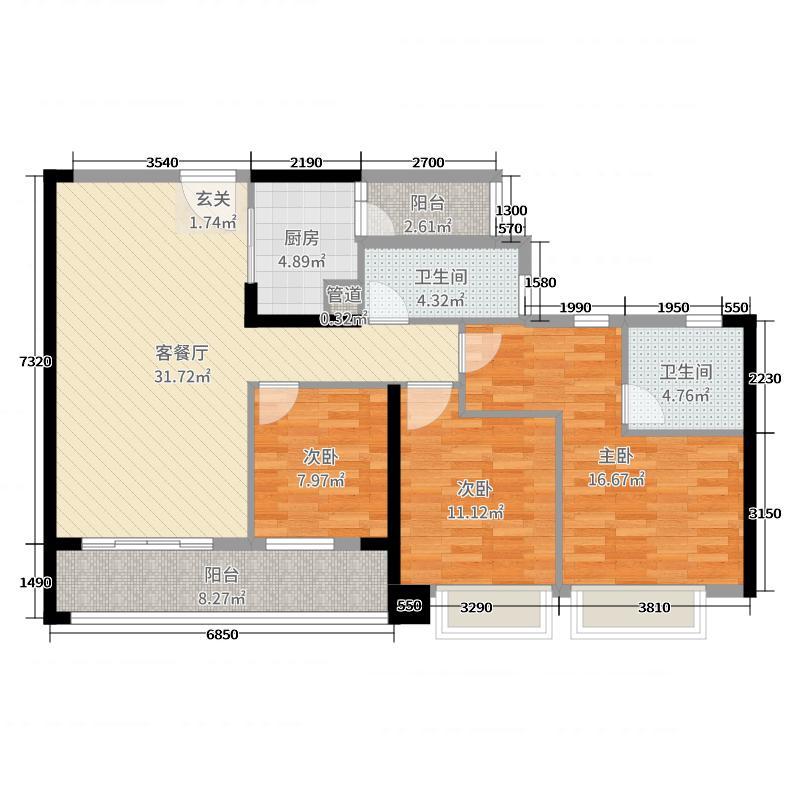 臻尚苑116.00㎡1栋05户型3室3厅2卫1厨