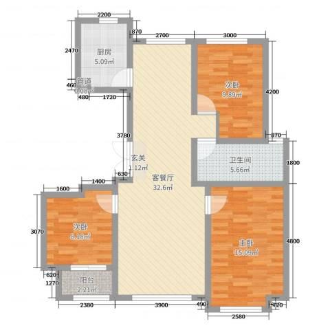 花栖左岸3室2厅1卫1厨111.00㎡户型图