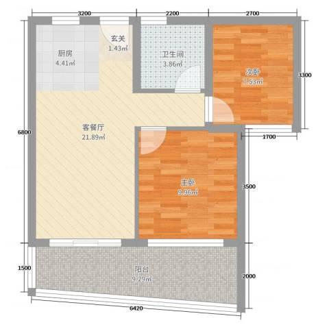 中铁城・悠岚湖2室2厅1卫0厨65.00㎡户型图