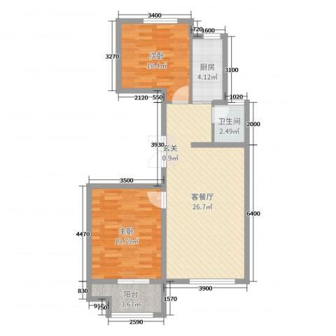 花栖左岸2室2厅1卫1厨89.00㎡户型图