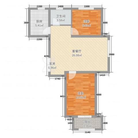 花栖左岸2室2厅1卫1厨88.00㎡户型图