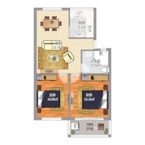 凤凰新村2室1厅1卫1厨74.00㎡户型图