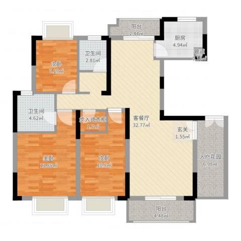 湖滨水岸3室2厅2卫1厨116.00㎡户型图