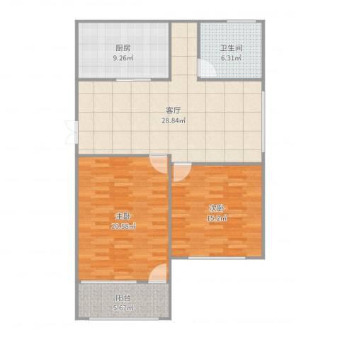 万枫家园2室1厅1卫1厨107.00㎡户型图