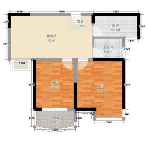 同人・怡和园2室2厅1卫1厨73.00㎡户型图