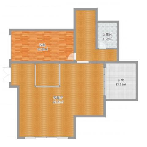 天伦随园1室2厅1卫1厨160.00㎡户型图