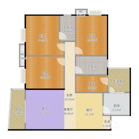 富康花园1室2厅2卫1厨123.70㎡户型图