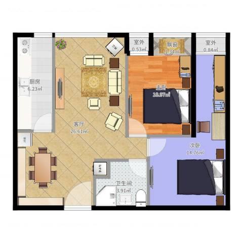 东亚・五环国际2室1厅1卫1厨80.00㎡户型图