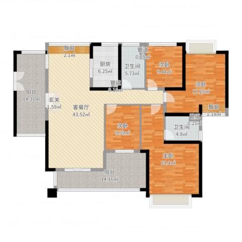 莲湖四季豪园4室2厅2卫1厨184.00㎡户型图