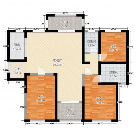 力高阳光海岸3室2厅2卫1厨124.00㎡户型图
