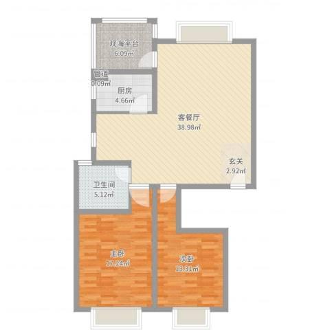 碧海绿洲2室2厅1卫1厨107.00㎡户型图