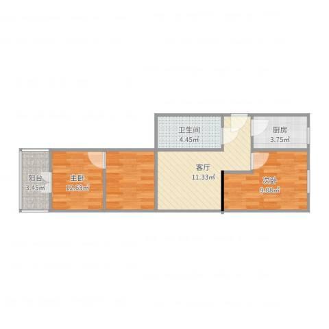 四平园2室1厅1卫1厨44.69㎡户型图