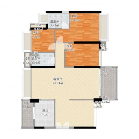 祥利上城3室2厅2卫1厨153.00㎡户型图