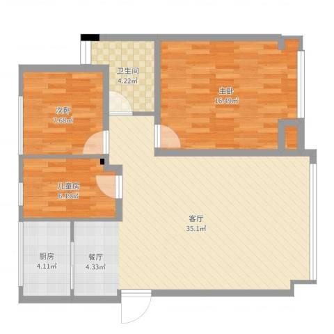 城市今典3室1厅1卫1厨93.00㎡户型图