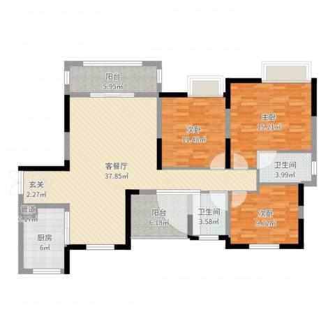 中建・城中壹号公馆3室2厅2卫1厨125.00㎡户型图