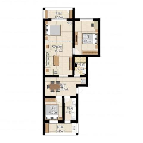 果园小区2室2厅1卫1厨92.00㎡户型图