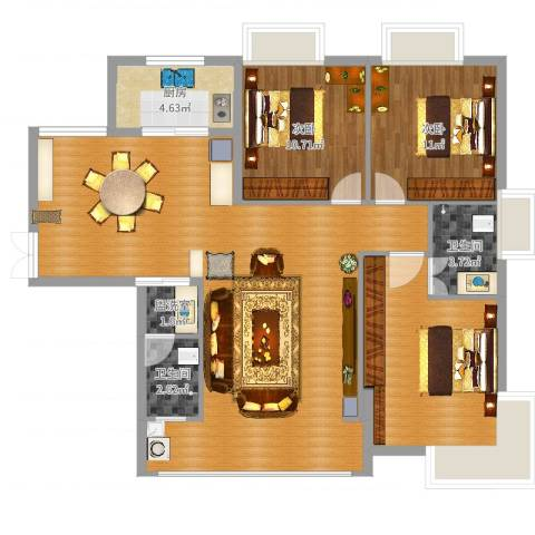 竹园新城2室2厅4卫1厨119.00㎡户型图