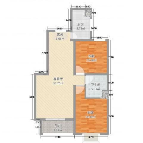友林・国际城2室2厅1卫1厨96.00㎡户型图