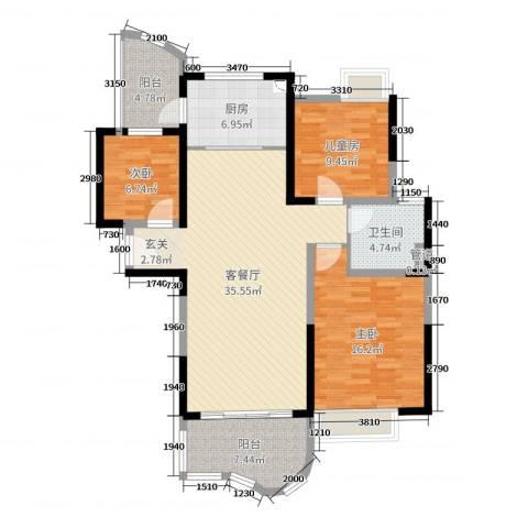 如皋碧桂园3室2厅1卫1厨115.00㎡户型图