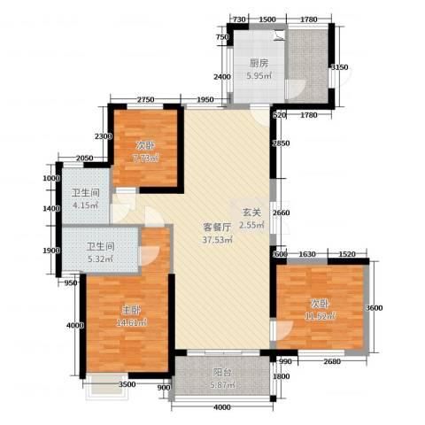 恒大帝景3室2厅2卫1厨140.00㎡户型图