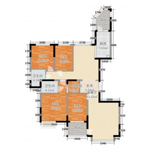 恒大帝景4室2厅2卫1厨186.00㎡户型图