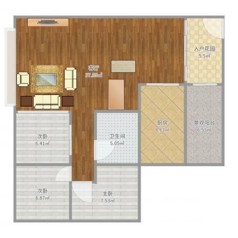 华发新城六期3室1厅1卫1厨105.00㎡户型图