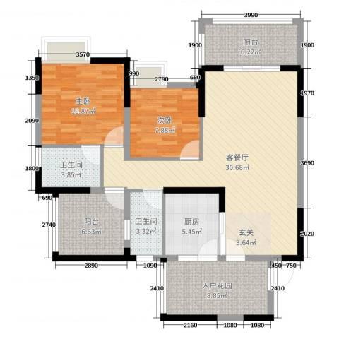 印象戛纳二期青云上2室2厅2卫1厨103.00㎡户型图