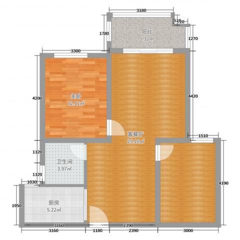 月城熙庭1室2厅1卫1厨83.00㎡户型图