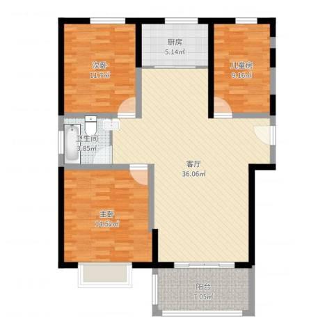 诚德盛世原著3室1厅1卫1厨109.00㎡户型图