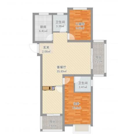 万邦金地花园2室2厅2卫1厨102.00㎡户型图