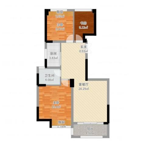 瑶溪金御湾3室2厅1卫1厨90.00㎡户型图