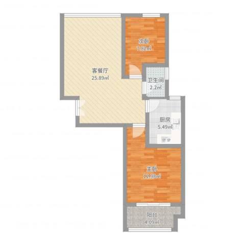 东怡水岸花园别墅2室2厅1卫1厨73.00㎡户型图