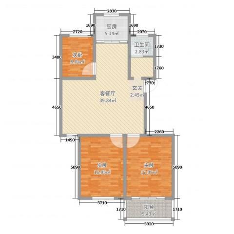 农垦丽景苑3室2厅1卫1厨120.00㎡户型图
